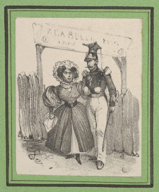 Soldier with a woman on his arm in front of a wodden gate