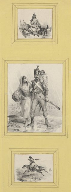 Soldiers and a Highlander (3 prints of varying size pasted onto a yellow sheet)