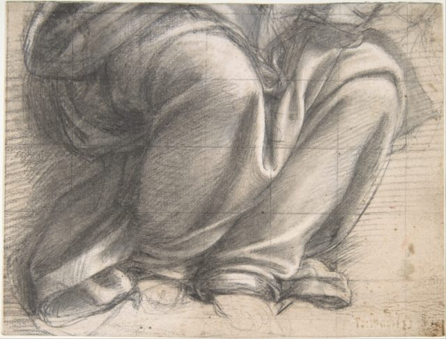 Study of Drapery over the Knees of a Seated Figure.