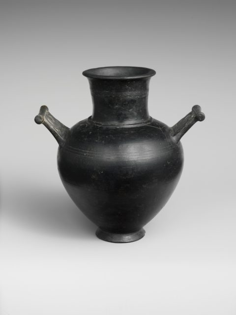 Terracotta amphora with lid