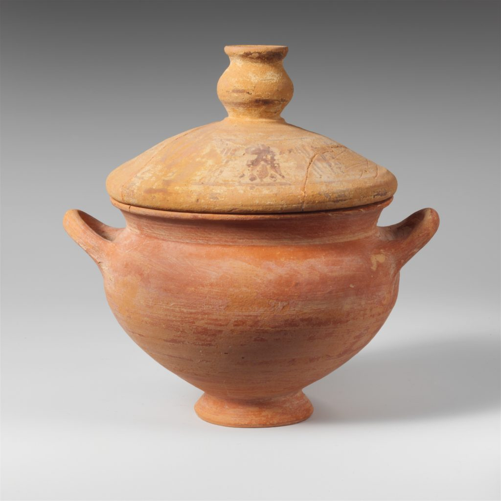 Terracotta skyphos (deep drinking cup) with lid