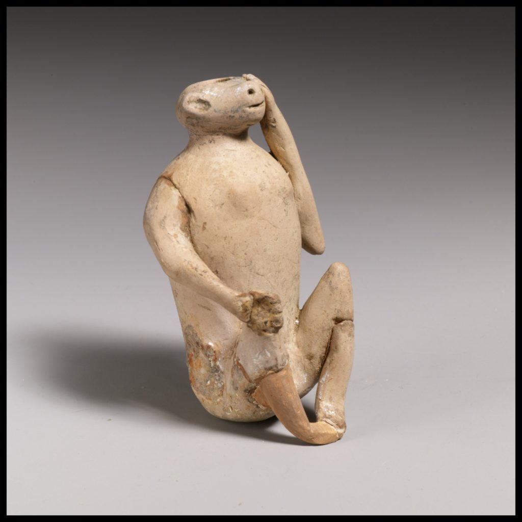 Terracotta vase in the form of an ape