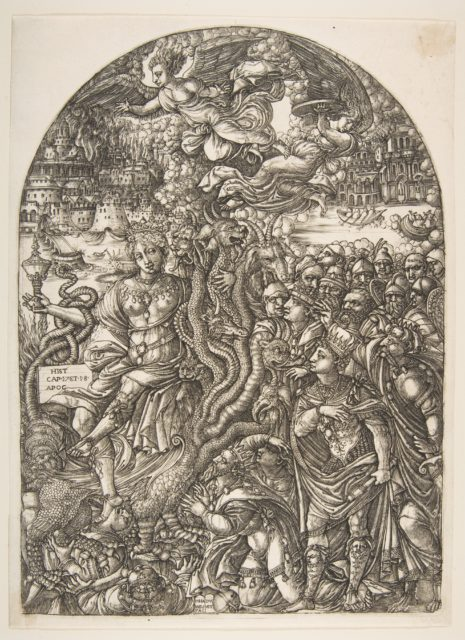 The Babylon Harlot seated on the Seven-Headed Beast, from the Apocalypse