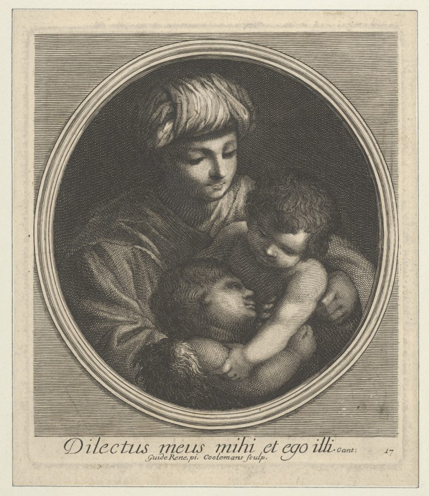 The Virgin with the infant Christ and the young Saint John the Baptist, in a circular frame, after Reni