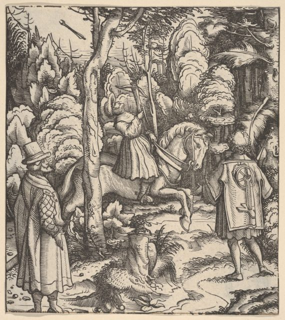 Theuerdarnk Nearly Shoots Himself with a Crossbow, from [Theuerdank] Die geuerlicheiten vnd einsteils der geschichten des loblichen streytparen vnd hochberümbten helds vnd Ritters herr Tewrdannckhs