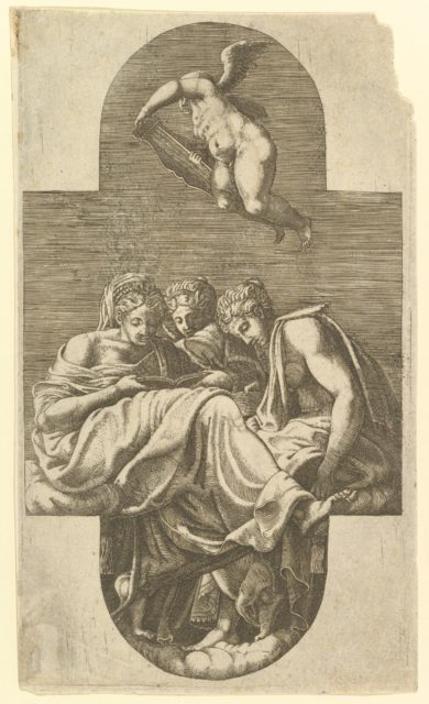Three Muses and a Putto with a Lyre