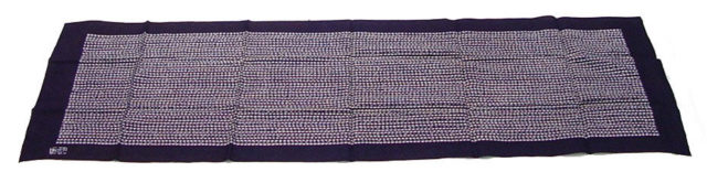 Towel (tenugui) with Pattern of Floral Stripes of Stylized Wisteria in White on Dark Blue Ground