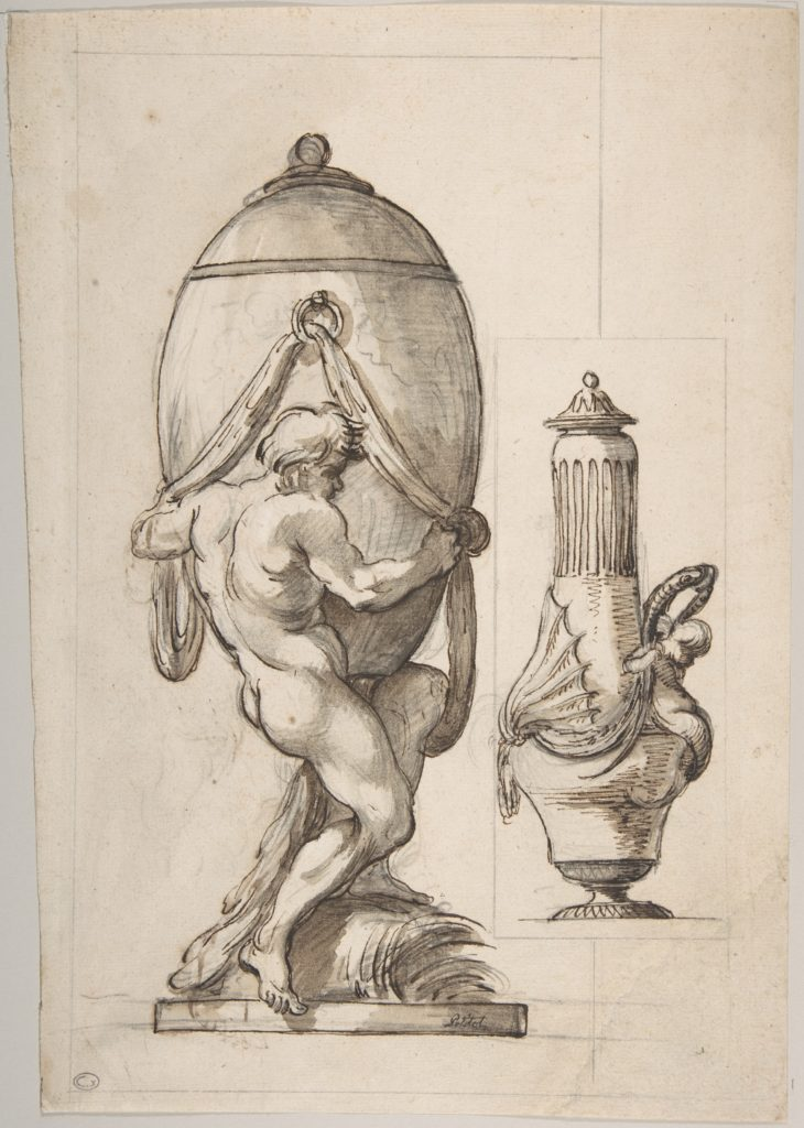 Two Designs for Vases (recto); Variant Design for a Vase (verso)