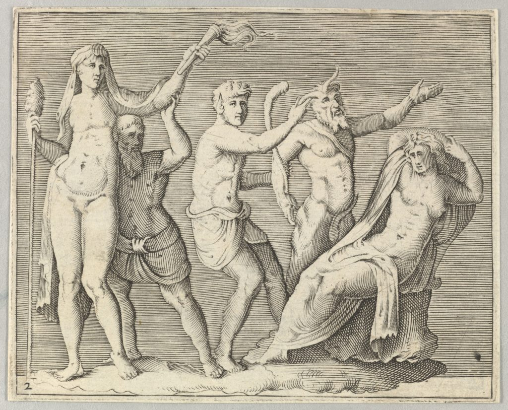 Two Figures, a Faun, and a Satyr approach a Recliniing Woman