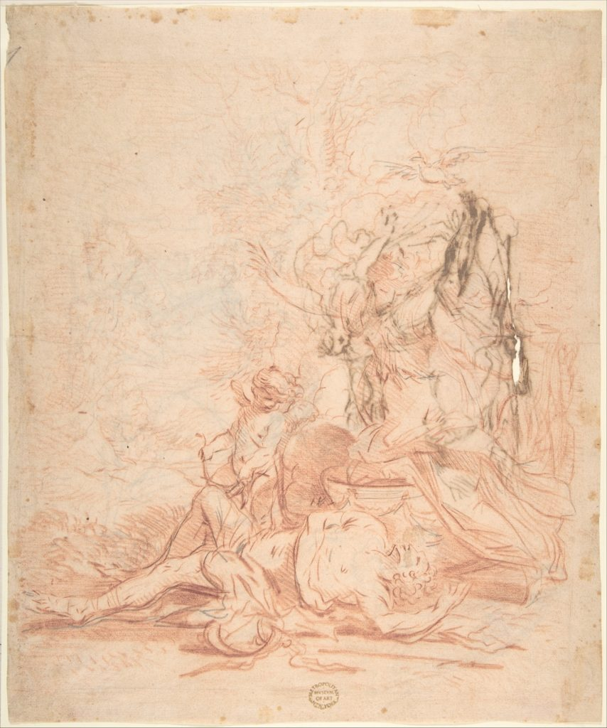 Venus and the Dead Adonis (recto); Sketches of Venus and the Dead Adonis; several sketches of kneeling and standing figures (verso)