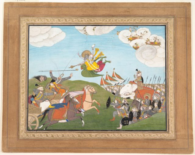 Vishnu as Varaha, the Boar Avatar, Slays Banasur, A Demon General: Page from an Unknown Manuscript