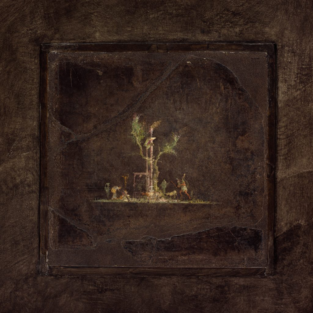 Wall painting on black ground: landscape, from the imperial villa at Boscotrecase