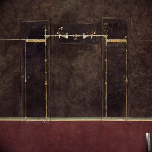 Wall painting on black ground: supports with entrablature, from the imperial villa at Boscotrecase