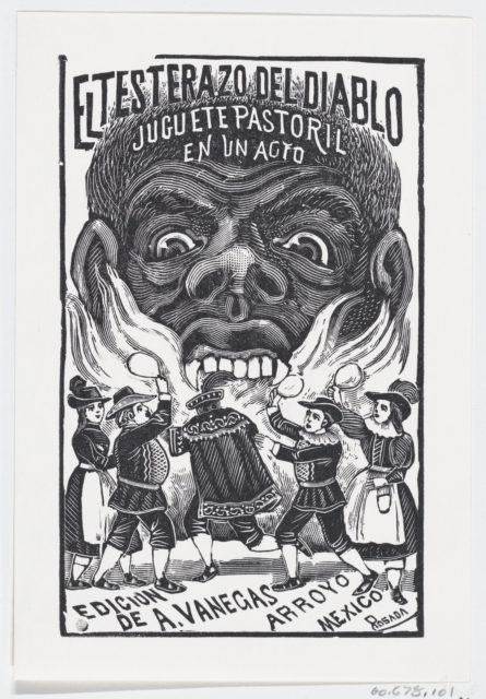 A demon breathing fire and people running around in the foreground, illustration for 'El Testerazo del Diablo,' published by Antonio Vanegas Arroyo