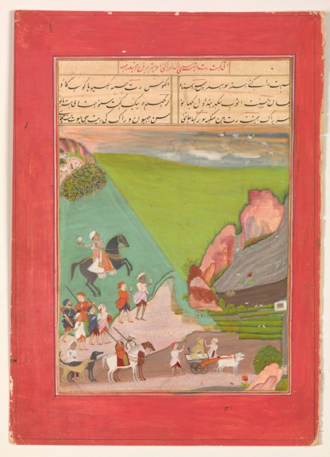 """""""A Prince out Hawking with a Group of Attendants and a Leopard"""", Folio from a manuscript of the Raga Darshan of Anup"""