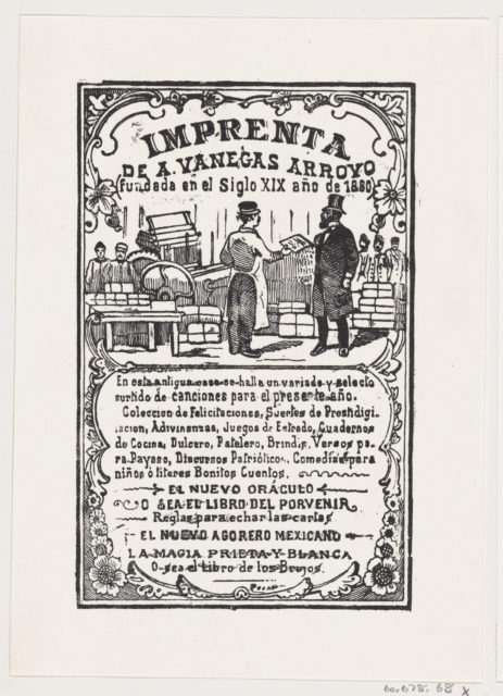 A print shop with a printer handing something to a gentleman, from the broadside 'Imprenta de A. Vanegas Arroyo,' published by Antonio Vanegas Arroyo