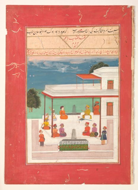 """""""A Raja and a Guest Seated on a Terrace Listening to Musicians Perform"""", Folio from a manuscript of the Raga Darshan of Anup"""