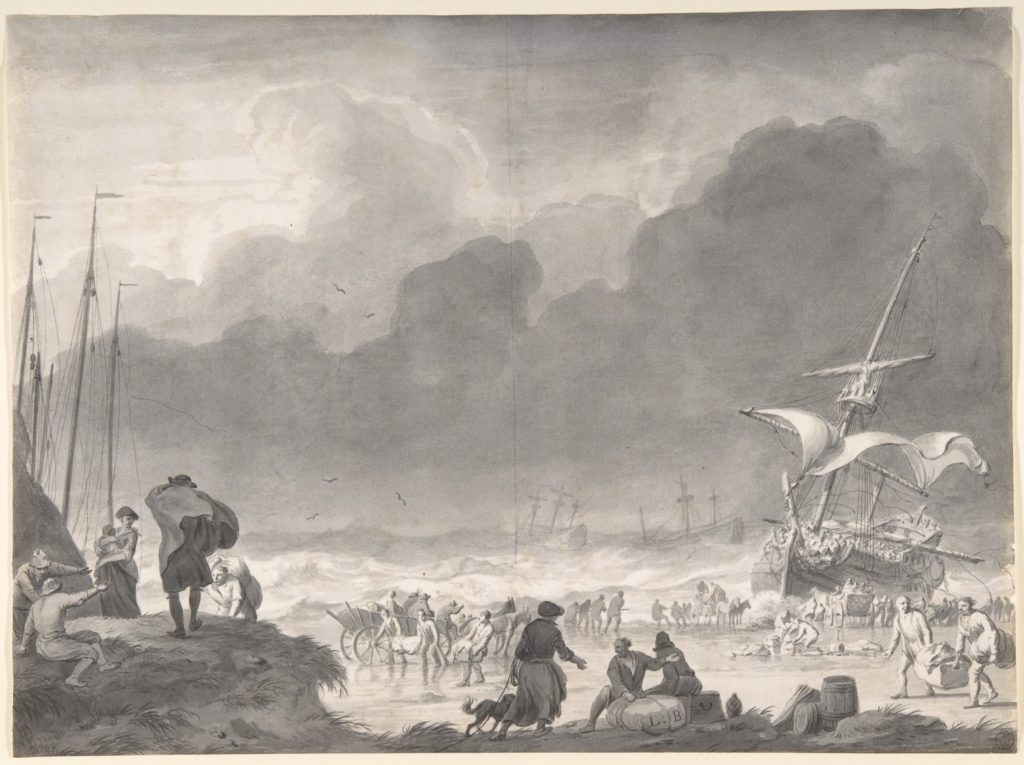 A Ship Wrecked on a Shore on a Stormy Night, with Survivors Salvaging Their Goods