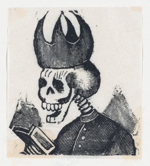 A skeleton wearing a bishop's mitre reading a book (vignette for the feast of the dead)