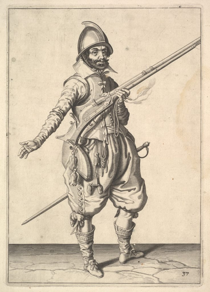 A soldier on guard freeing his right hand, from the Marksmen series, plate 37, in Wapenhandelinghe van Roers Musquetten Ende Spiessen (The Exercise of Arms)