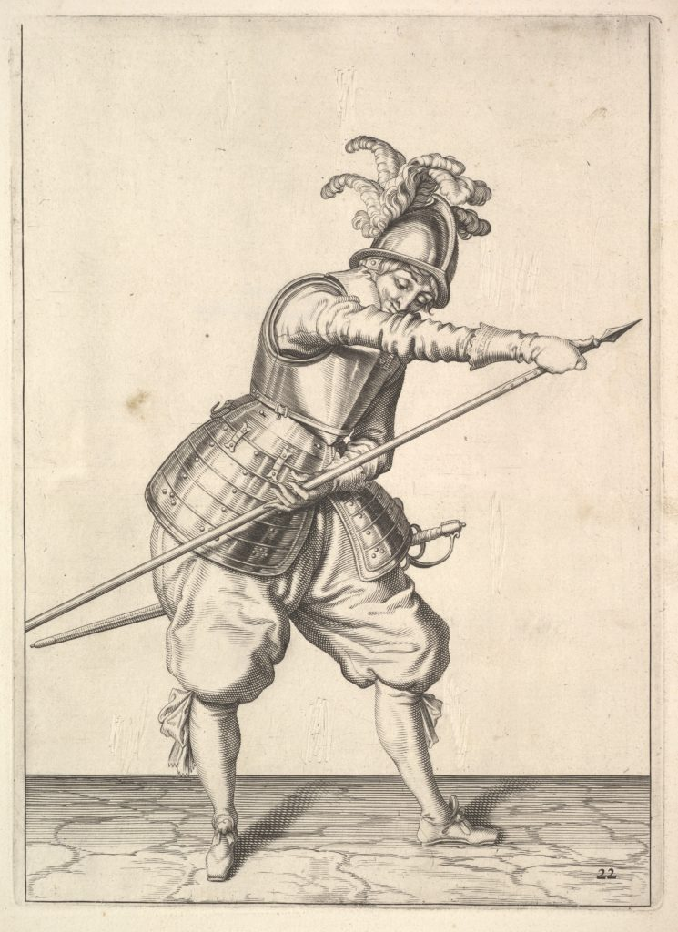 A soldier sliding his right hand along the training-pike, from the Lansquenets series, plate 22, in Wapenhandelinghe van Roers Musquetten Ende Spiessen (The Exercise of Arms)