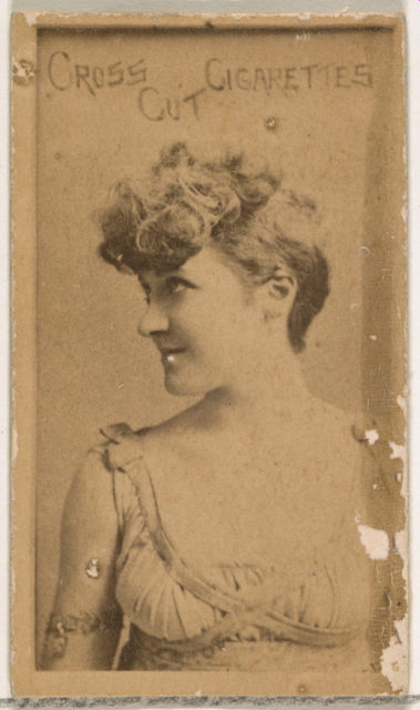 Actress wearing draped gown, from the Actors and Actresses series (N145-1) issued by Duke Sons & Co. to promote Cross Cut Cigarettes