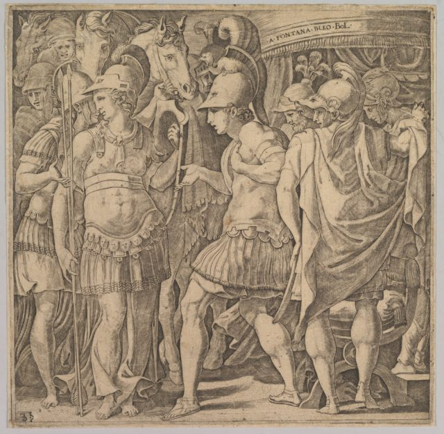 Alexander welcoming Thalestris and the Amazons