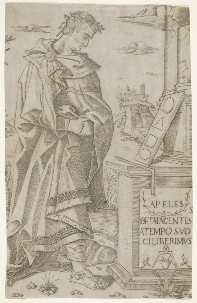 Apelles standing profile looking at a tablet of geometric figures