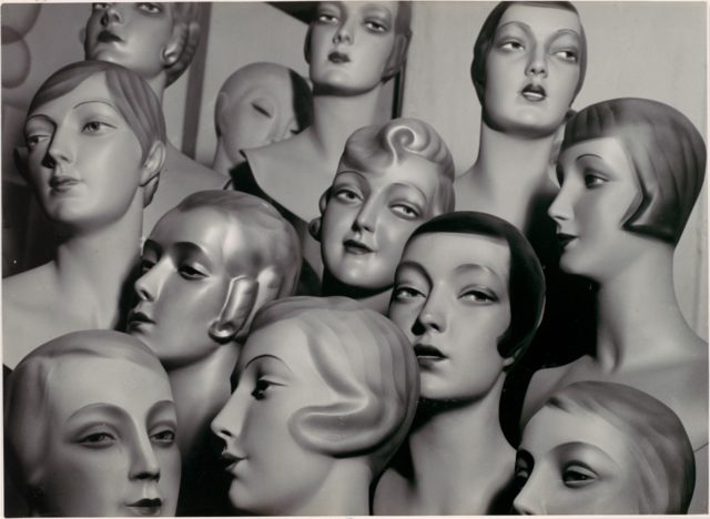 [Arrangement of 12 Female Mannequin Heads, Each with Distinct Physiognomy and Period Hair Style]