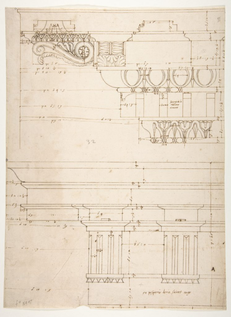 Basilica Ulpia, cornice, elevation profile with ornamental detailing; Domus Turciorum, entablature, elevation profile (recto) Domus Turciorum, elevation, perspective (verso)