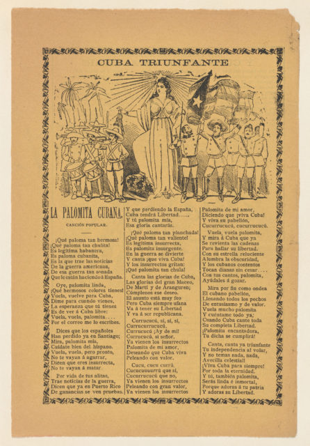 Broadside celebrating Cuba's victory over Spain in the Spanish American War, soldiers holding the Cuban flag and flanking the alleogorical figure of Cuba