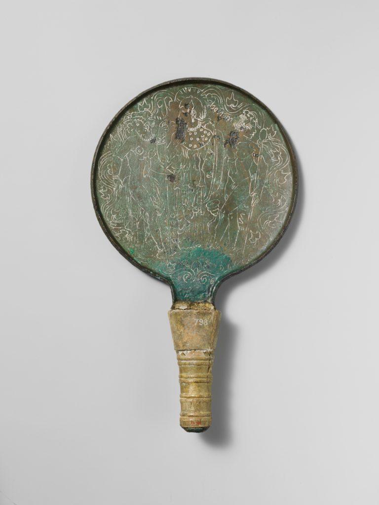 Bronze mirror with ivory handle