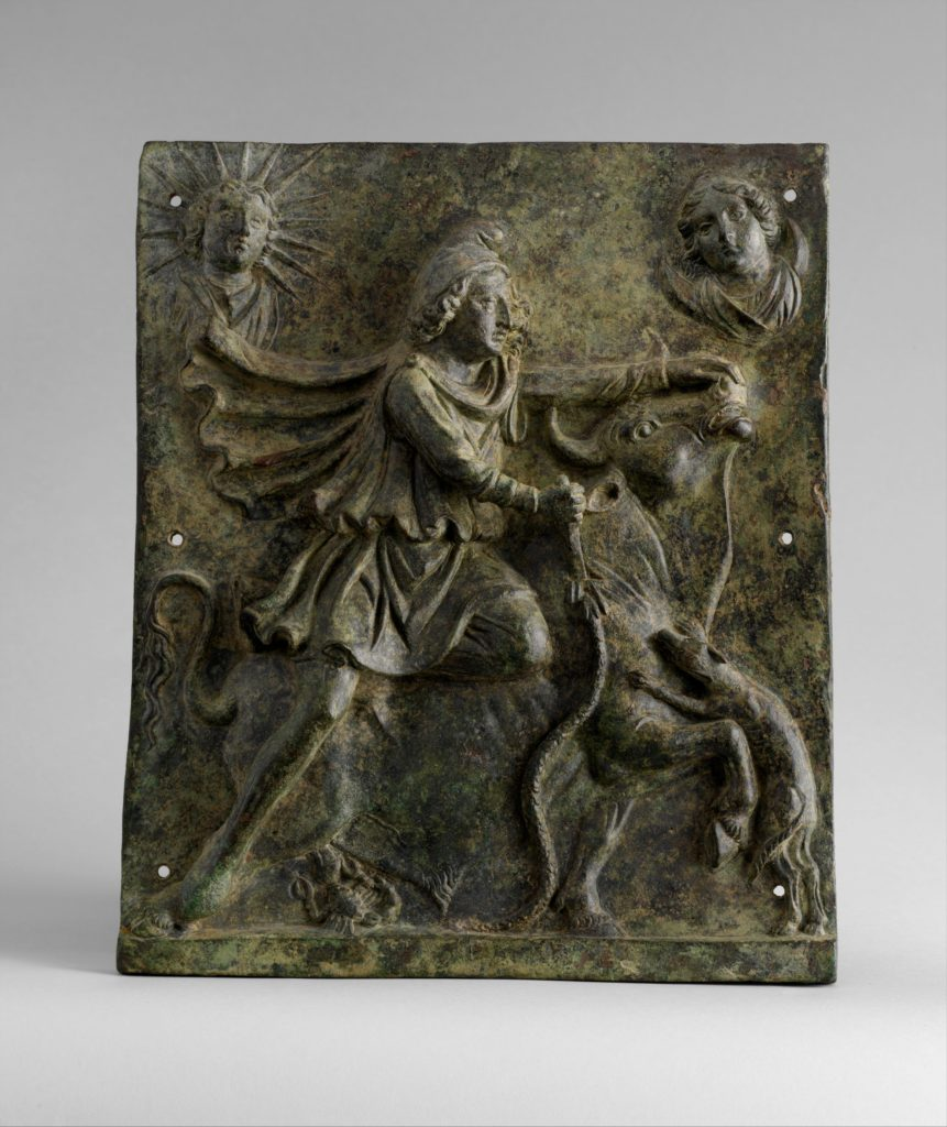 Bronze plaque of Mithras slaying the bull