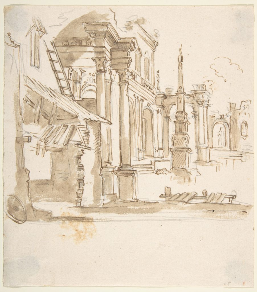 Capricio with Architectural Ruins in Perspective.