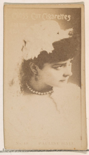Card Number 10, Pauline Hall, from the Actors and Actresses series (N145-2) issued by Duke Sons & Co. to promote Cross Cut Cigarettes