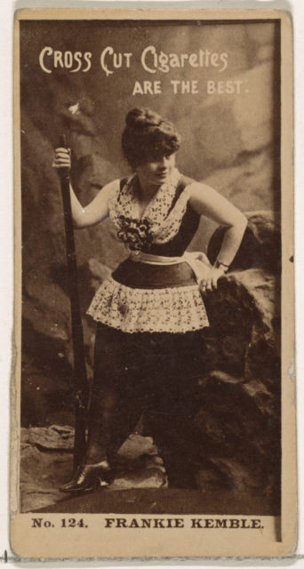 Card Number 124, Frankie Kemble, from the Actors and Actresses series (N145-2) issued by Duke Sons & Co. to promote Cross Cut Cigarettes