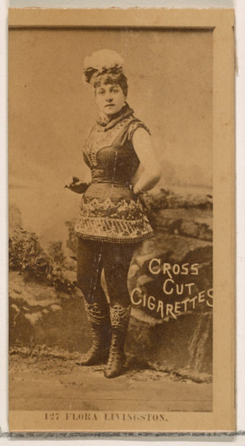 Card Number 127, Flora Livingston, from the Actors and Actresses series (N145-2) issued by Duke Sons & Co. to promote Cross Cut Cigarettes