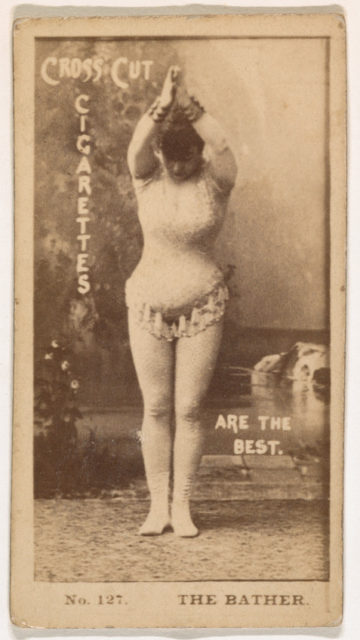 Card Number 127, The Bather, from the Actors and Actresses series (N145-2) issued by Duke Sons & Co. to promote Cross Cut Cigarettes