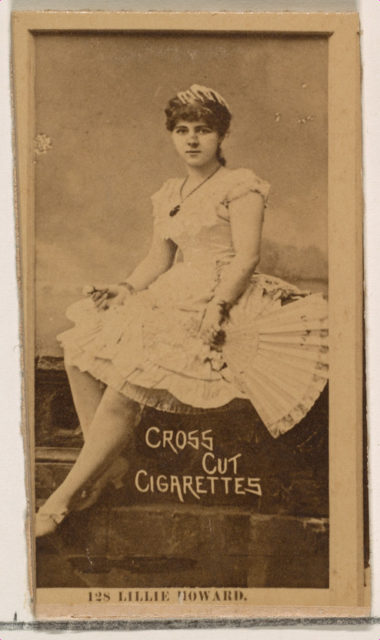 Card Number 128, Lillie Howard, from the Actors and Actresses series (N145-2) issued by Duke Sons & Co. to promote Cross Cut Cigarettes