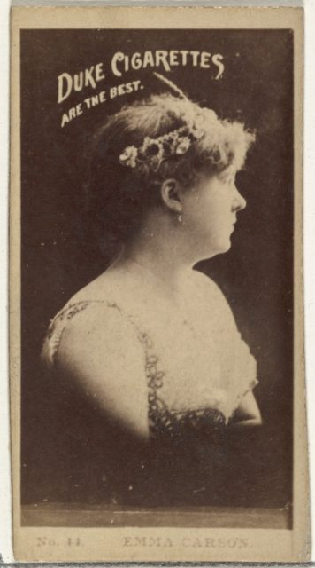 Card Number 14, Emma Carson, from the Actors and Actresses series (N145-6) issued by Duke Sons & Co. to promote Duke Cigarettes