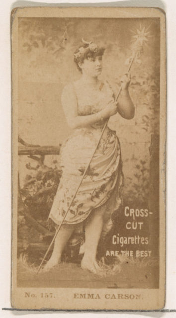 Card Number 157, Emma Carson, from the Actors and Actresses series (N145-2) issued by Duke Sons & Co. to promote Cross Cut Cigarettes