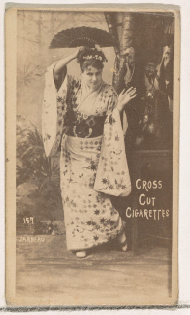 Card Number 157, Jarbeau, from the Actors and Actresses series (N145-1) issued by Duke Sons & Co. to promote Cross Cut Cigarettes