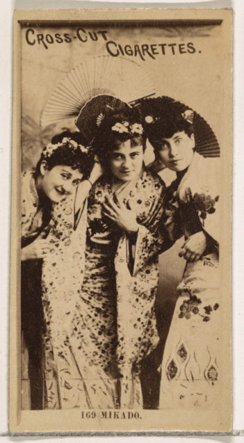 Card Number 169, The Mikado, from the Actors and Actresses series (N145-2) issued by Duke Sons & Co. to promote Cross Cut Cigarettes