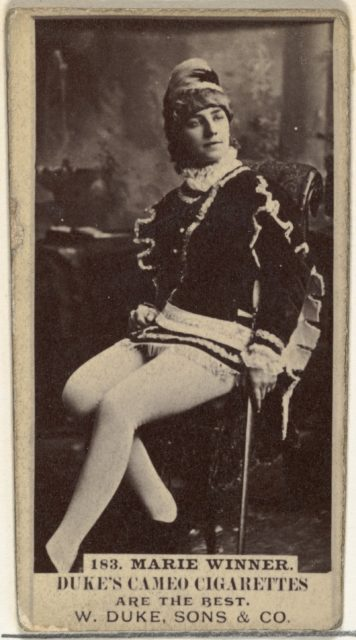 Card Number 183, Marie Winner, from the Actors and Actresses series (N145-5) issued by Duke Sons & Co. to promote Cameo Cigarettes