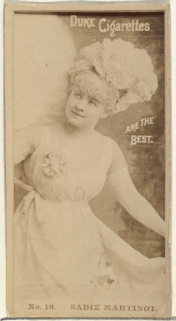 Card Number 19, Sadie Martinot, from the Actors and Actresses series (N145-6) issued by Duke Sons & Co. to promote Duke Cigarettes