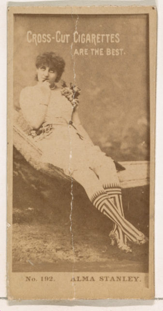 Card Number 192, Alma Stanley, from the Actors and Actresses series (N145-2) issued by Duke Sons & Co. to promote Cross Cut Cigarettes