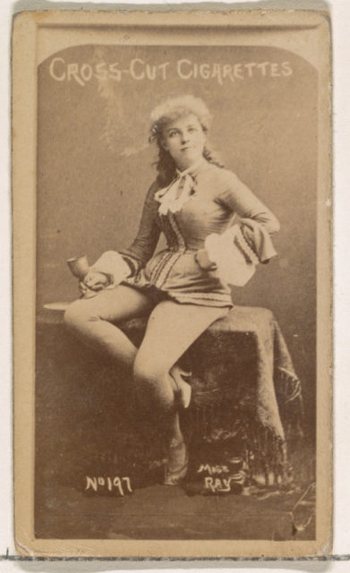 Card Number 197, Miss Ray, from the Actors and Actresses series (N145-1) issued by Duke Sons & Co. to promote Cross Cut Cigarettes