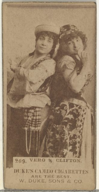 Card Number 209, Vero and Clifton, from the Actors and Actresses series (N145-5) issued by Duke Sons & Co. to promote Cameo Cigarettes