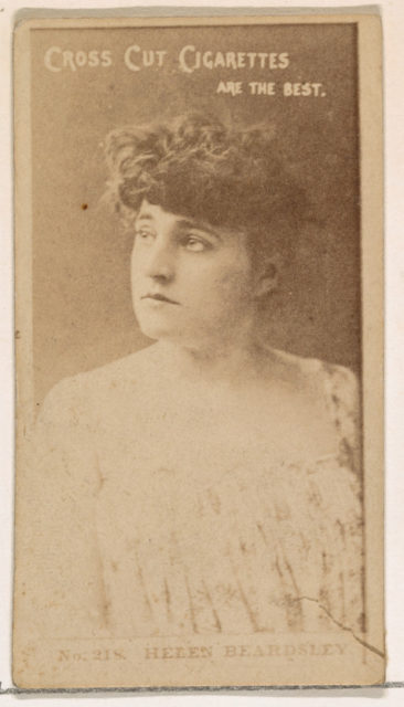 Card Number 218, Helen Beardsley, from the Actors and Actresses series (N145-2) issued by Duke Sons & Co. to promote Cross Cut Cigarettes