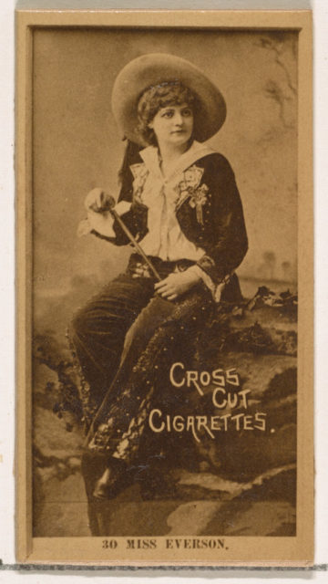 Card Number 30, Miss Everson, from the Actors and Actresses series (N145-2) issued by Duke Sons & Co. to promote Cross Cut Cigarettes